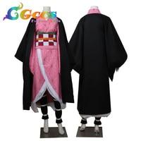 Cosplay Costume DEMON SLAYER Kimetsu No Yaiba Nezuko Kamado Dresses Clothes Kimono Uniform CGCOS Free Shipping CG523