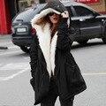 Novo 2017 Outono Mulheres Jaqueta de Inverno Com Capuz Espessamento Casacos Quentes Mulheres Outerwear Casaco Longo Sólida CX160