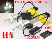 New 1 Set H4 P70 Cre 110W 13200LM LED Headlight Conversion Kit XHP-70 Driving Fog Lamp Bulb H7 H8 H9 H11 H16(JP) 9005 9006 9012
