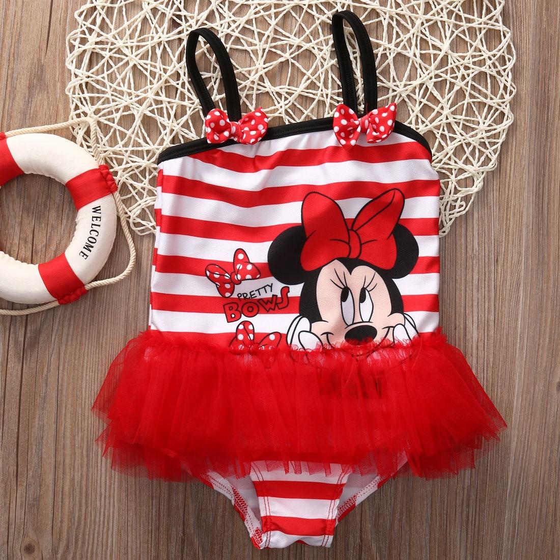 Child Baby Kids Girl Striped Minnie One Piece Swimsuit Swimwear Monokini Bikini Bathing Suit Tutu Swimsuit