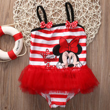 Child Baby Kids Girl Striped Minnie One Piece Swimsuit Swimwear Monokini Bikini Bathing Suit(China)