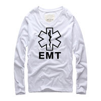 2016 New Autumn Brand Clothing Swag Clothes Men Long Sleeve T Shirt Fitness Cotton EMT Printed