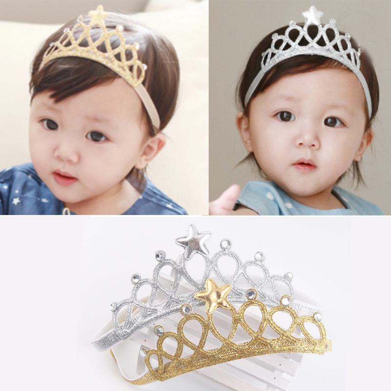 Gold Silver Color Star Hair Accessories Toddler Infant Newborn Kids Baby Princess Headbands Hair Band Girls Tiaras And Crowns