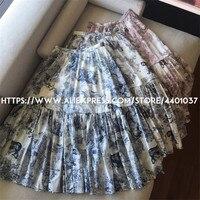 Skirt Women 2018 Fall Winter Floral Long Skirt Boho Printed Ruffled Skirt Harajuku