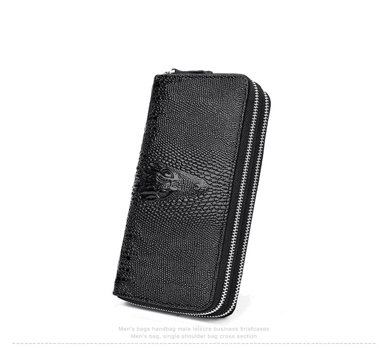 Topdudes.com - Crocodile Pattern Double Zipper Wallet with Card Holder, Clutch Coin Pocket
