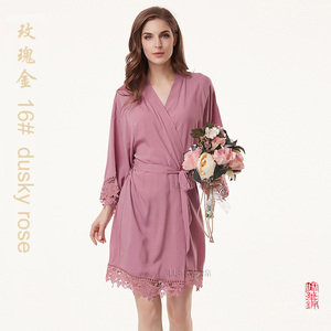 Image 4 - Cotton Robe  Lace Robe bride robe Kimono Bridesmaid Robes Bridal Party Robe  women pajamas sleepwear A300A