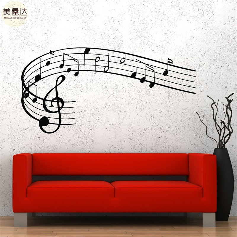 Wall Vinyl Music Notes Clef Rock Pop Song Singing Guaranteed Quality Decal image