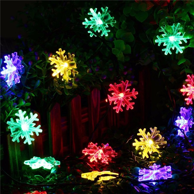 solar powered outdoor string lights snowflake 20 leds starry lighting christmas decorations for home garden solar