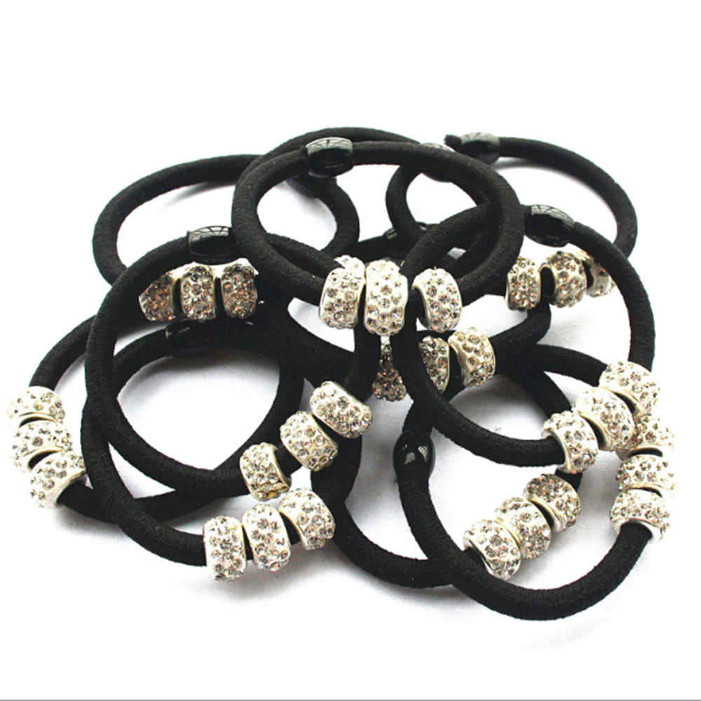5Pcs Women Girls Crystal Rhinestone Balls Hair Band Rope Elastic Ponytail Holder Hair Band Accessories Beauty Tools