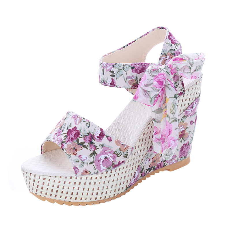 Fashion Women Sandals Summer Wedges Women's Sandals Platform Lace Belt Bow Flip Flops open toe high-heeled Women shoes Female e toy word summer platform wedges women sandals antiskid high heels shoes string beads open toe female slippers