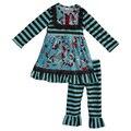 Boutqiue risita luna remake niñas trajes bebé recién nacido ropa de invierno babero dress ruffle pant niños ropa establece f112