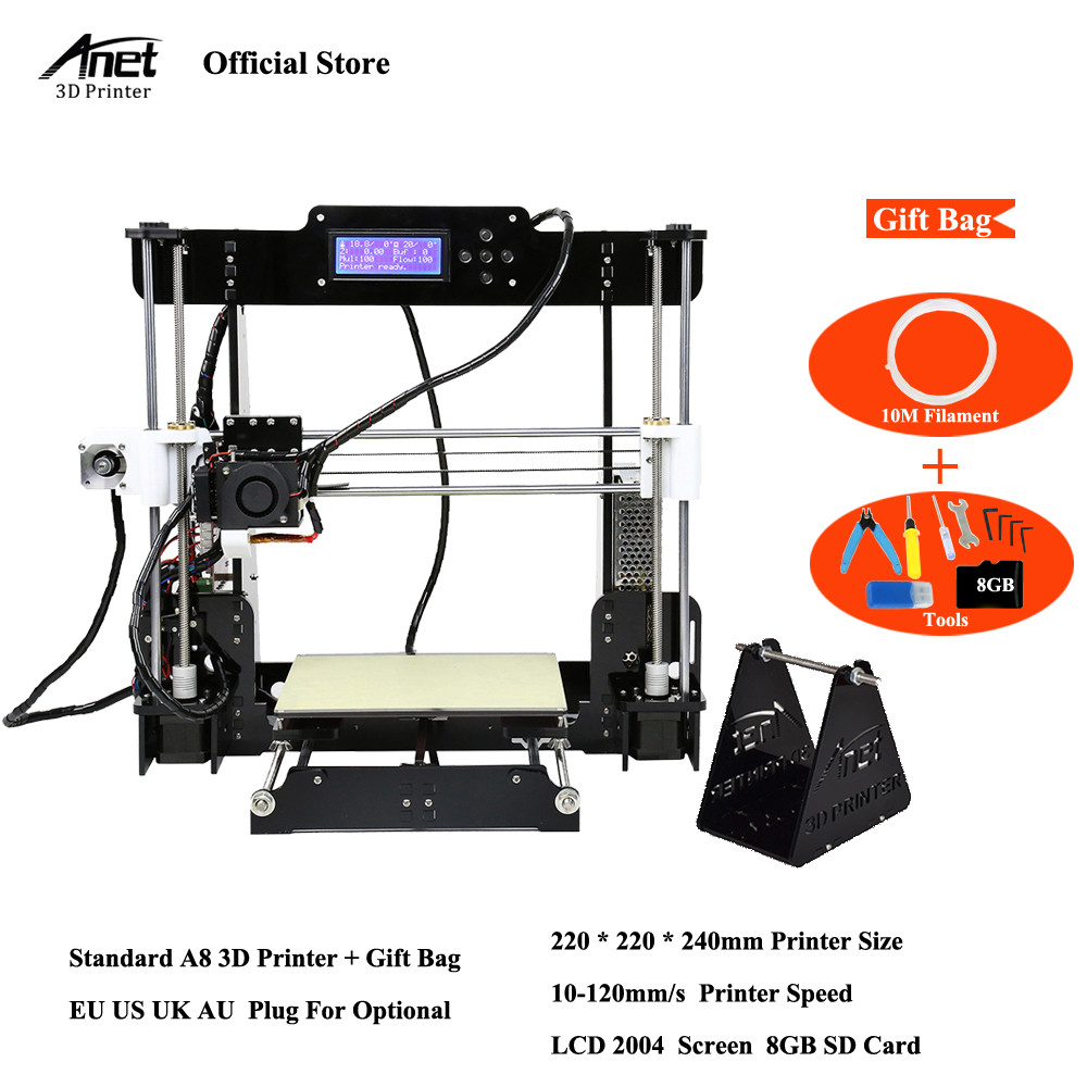 Анет A8 A6 A2 Высокая точность рабочего стола 3D-принтеры комплект RepRap i3 комплект DIY Kit принтер 3D самостоятельной сборки MK8 экструдер сопла