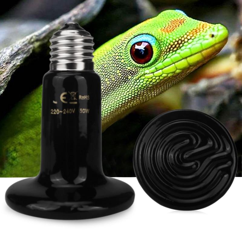 E27 50W Pet Heating Light Bulb 100W 70mm Black Pet Reptile Brooder Infrared Ceramic Heating Emitter Lamp 220V-240V