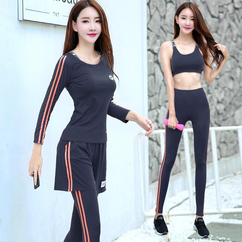 Nouveau Femmes De Yoga Ensemble Respirant Noir Col Rond Shrits + Sport Soutien Gorge + Pantalon + Shorts 4 pcs Sport Costume fitness Gym Jogging Vêtements - 3
