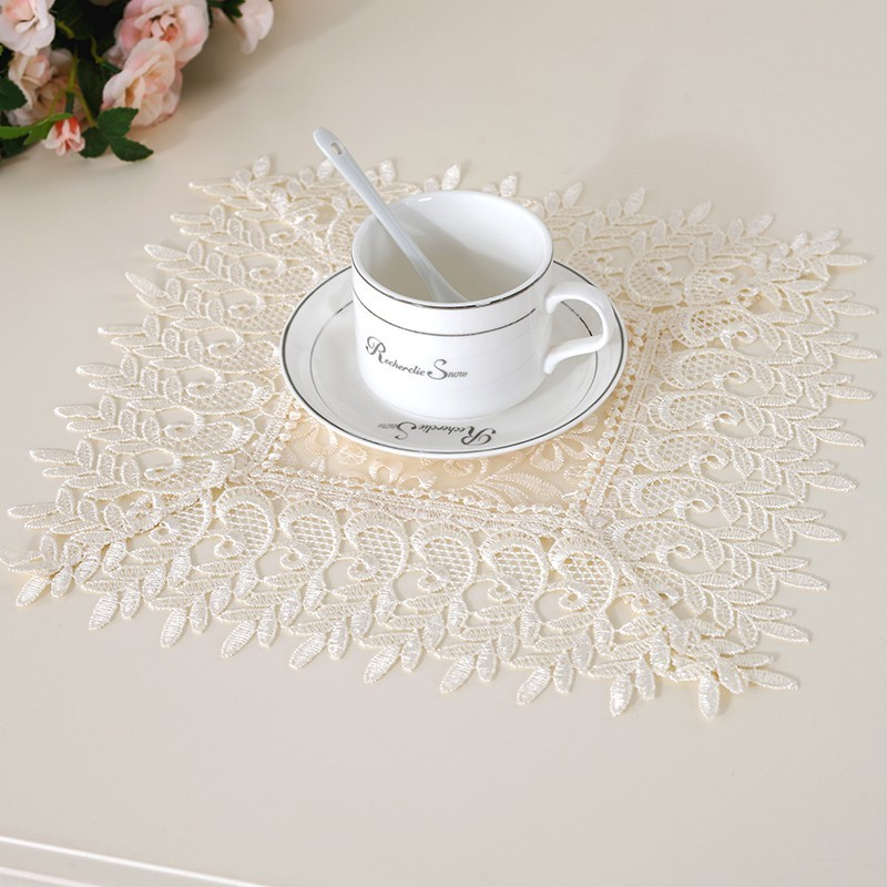 European Water Soluble Lace Pad Fabric Coaster Square Dining Table