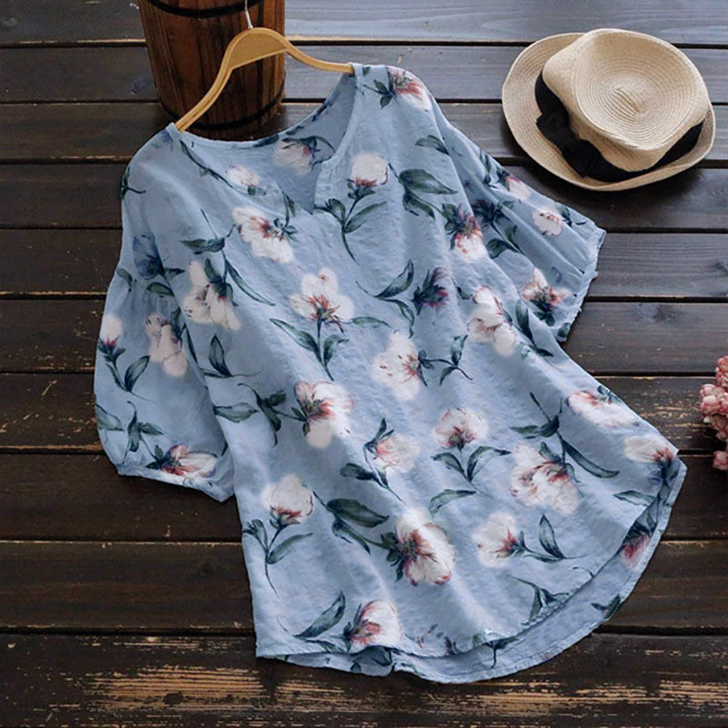 2019 Women V Neck Linen Floral Print Bikini Cover Up Pullover Pareo Beach Tunic Summer Beach Cape Blouse Beachwear Robe De Plage