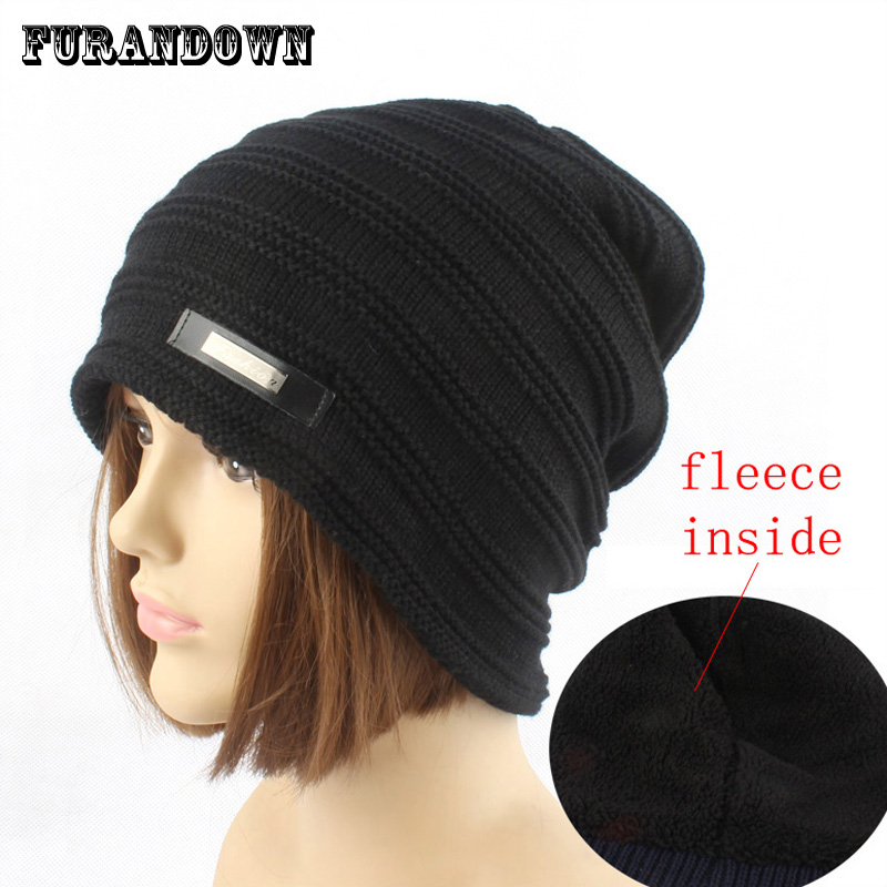 Winter Beanie Hat Ladies Cap Warm Fleece Inside Hats For Women Beanies Caps Knitted Cap gorros Female Ear Flaps Hat knitted winter autumn female hat plaid lace beanie cap woman chunky baggy cap skull gorros de lana mujer femme beanies cap