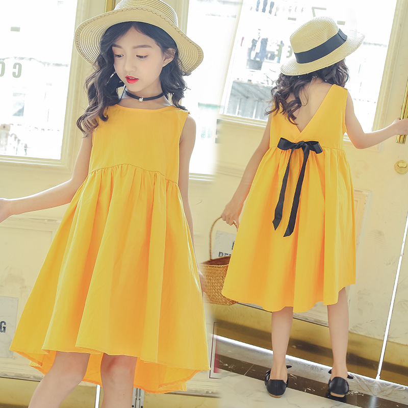 Teenage Girls Dresses for Party and Wedding Summer 2018 Girls Sleeveless Cotton Dress Princess Dress Yellow Vestidos 10 12 Years 2018 teenage girls summer casual dress girls cotton dresses kids letter printed beach dress girls slim dresses vestidos cc804