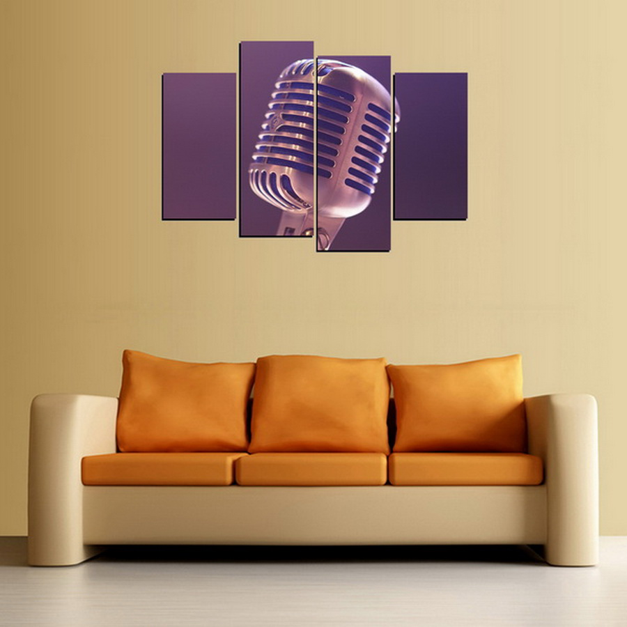 4 Panels Canvas Print Big Microphone Painting On Canvas Wall Art ...