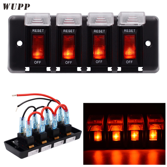 US $19 19 38% OFF|WUPP 12V 4 Gang Switch Panel ABS Waterproof LED Indicator  Switch Panel Circuit Breaker Panel With Sticker For Car Boat Marine -in