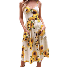 цены Ladies Print Floral Long Boho Bohemian Beach Summer Dress Women Sundress Sexy V-Neck Sleeveless Strap Maxi Vintage Dress Vestido