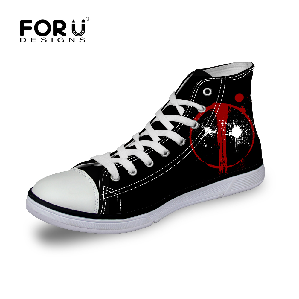 FORUDESIGNS American Comic Badass Deadpool Printed Shoes for Men Fashion Boy Student High top Canvas Shoes