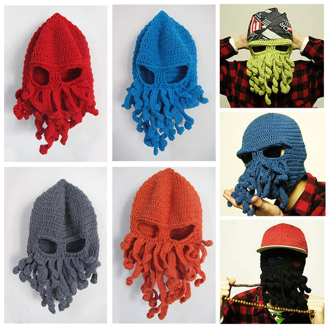 de92943b550 Octopus balaclavas Winter Warm Knitted crochet braids ski Face Mask Hat  squid Cap women man Funny