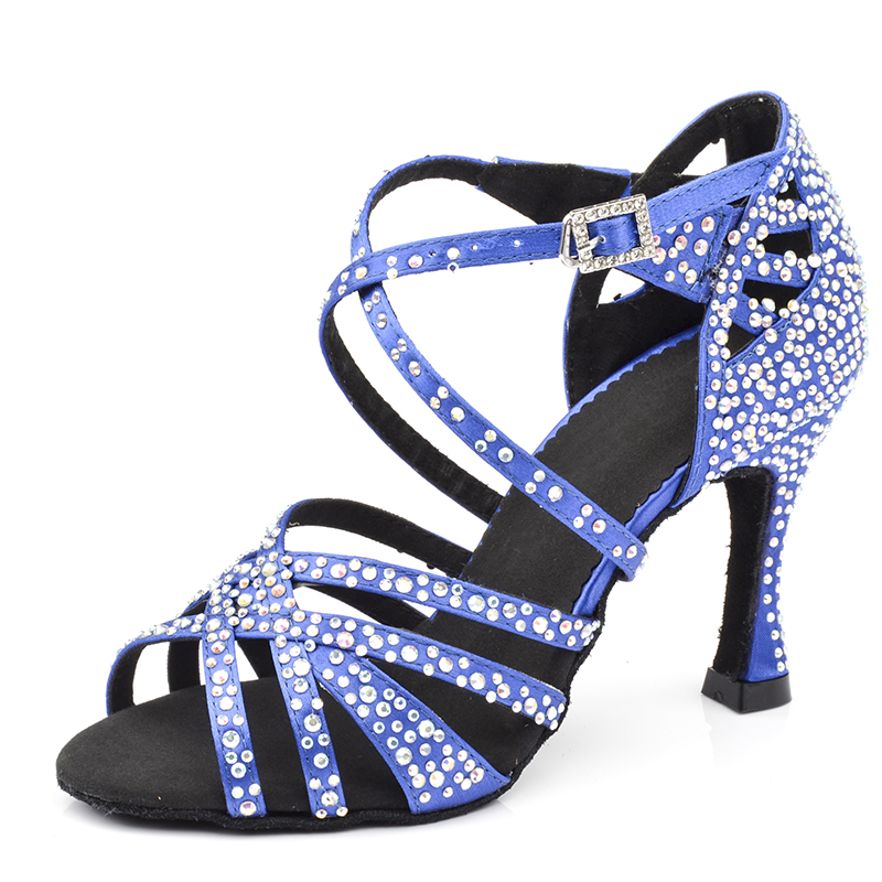 Women Ladies Party Dance Shoes Shining Rhinestones Salsa Latin Ballroom Dance Shoes With Soft Suede Sole 6 7.5 8.5 9 10cm Heel