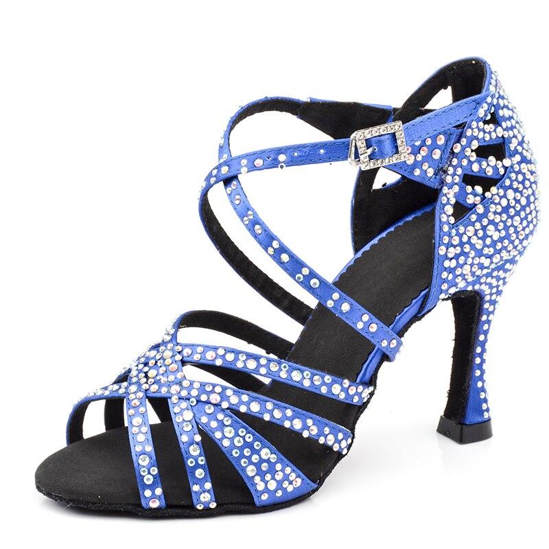Femmes dames chaussures de danse de fête brillant strass Salsa latine chaussures de danse de salle de bal avec semelle en daim doux 6 7.5 8.5 9 10 cm talon