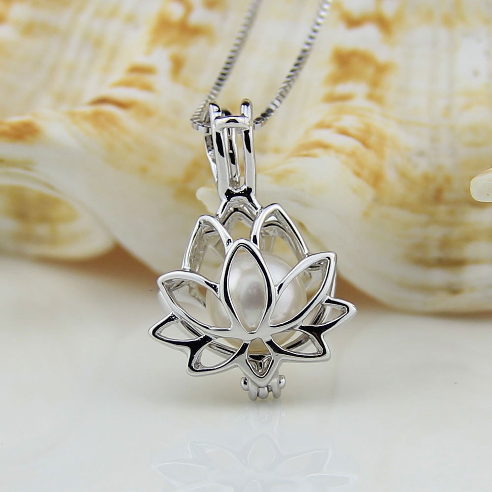925 Sterling Silver Charm Party Necklace with Lotus Locket Pendant Gilrs Akoya Pearl Necklace