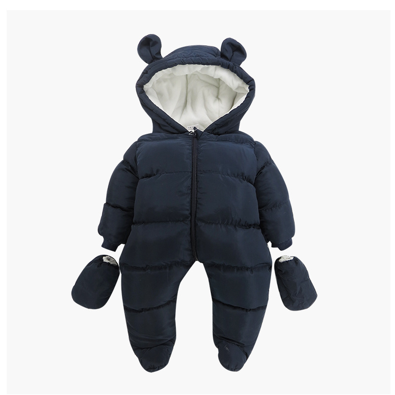 цена на new warm down feather cotton piecemeal clothing boys and girls baby bag feet jeans baby plus cashmere neat clothes neon clothes