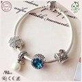 Top Quality Famosa Marca Cor Azul Série Crown Charme Genuíno 925 Prata Charm Bracelet