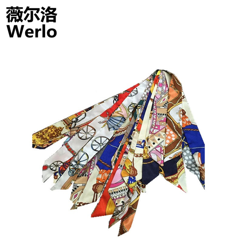 WERLO New 30% Silk Twill Scarves for Bag Handle Printed Scarves Small Ribbon for handbag handle Bag Parts Accessories SJ174 amanda maris new challenges 1 workbook cd
