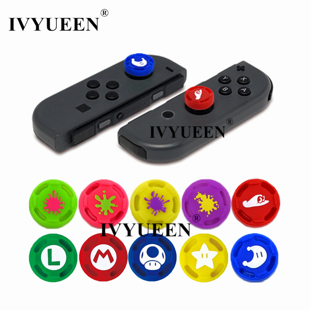 IVYUEEN 2 pcs for Joy Con Silicone Joystick Thumb Stick Grip Cover Case Analog Caps for Nintend Switch NS Joy-Con Controller ivyueen green pink red housing replacement cover for nintend switch ns joy con shell joy cons controller case game accessories