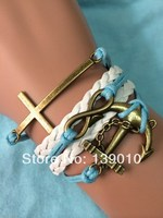 Braided White Blue Leather Rope Multi layer Cuff Bracelet Bangles Vintage Fashion Women  Men Cross Anchor Infinity Charm Jewelry