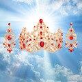Nueva Barroco de la joyería nupcial conjuntos de joyería de la vendimia rojo/verde de cristal corona grande con clip pendientes accesorios de boda