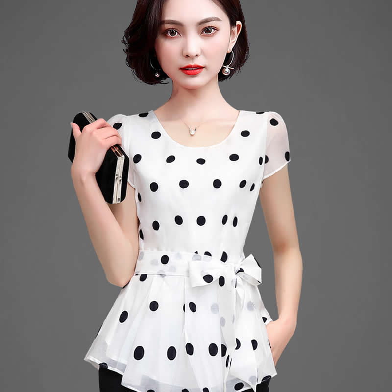 Women Casual Summer Style Chiffon Blouses Shirts Lady Short Sleeve O-Neck Polka Dot Printed Blusas Tops DF2824