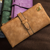 2017 New Fashion Women Wallets Drawstring Nubuck Leather Zipper Wallet Women S Long Design Purse Two