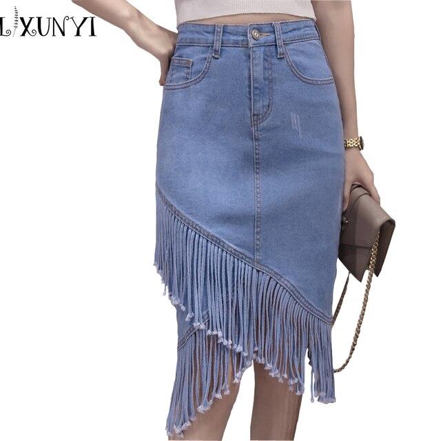 f50f7c9e8e9250 € 18.61 20% de réduction|Mode 2019 été femmes Denim irrégulière jupe OL  épissage gland Slim Sexy taille haute conception crayon jupes Jeans ...
