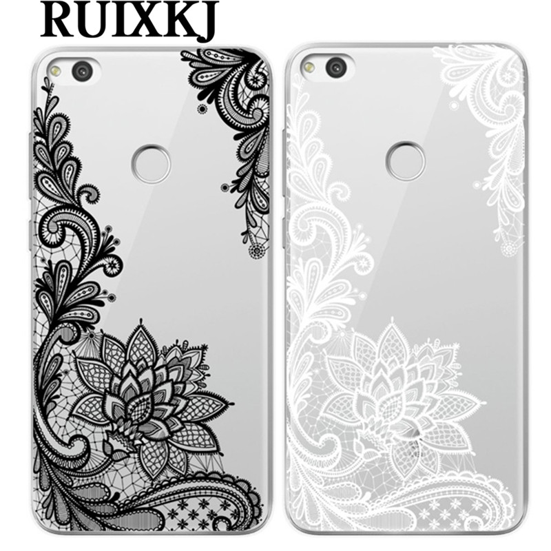 <font><b>Sexy</b></font> Retro Floral <font><b>Phone</b></font> <font><b>Case</b></font> For Huawei P8 P9 P10 Lite 2017 Mate 10 Pro <font><b>Honor</b></font> 9 Lite <font><b>6X</b></font> 7X Lace Flower Silicone <font><b>Cases</b></font> Back Cover image