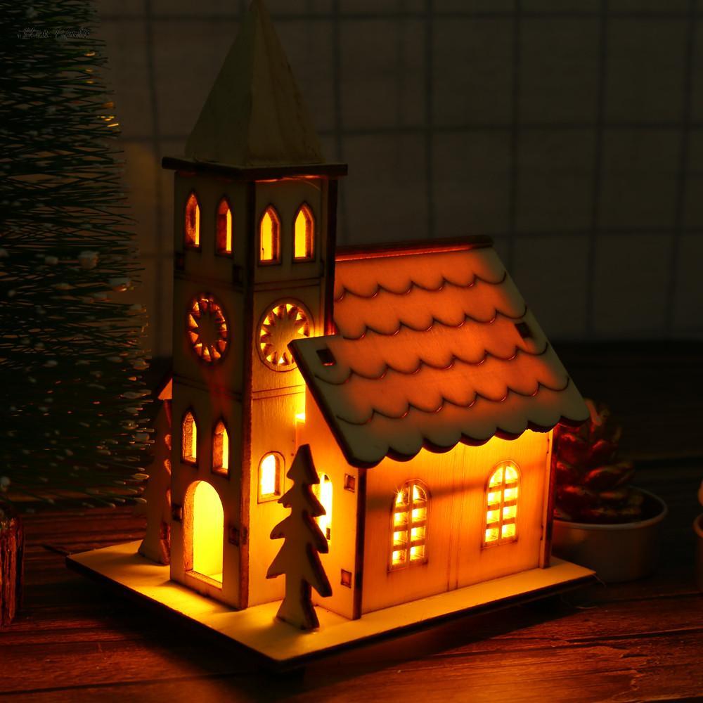 Ishowtienсветодио дный Da свет деревянный кукольный домик вилла Рождество украшения Xmas елочные игрушки новый год аксессуары для дома