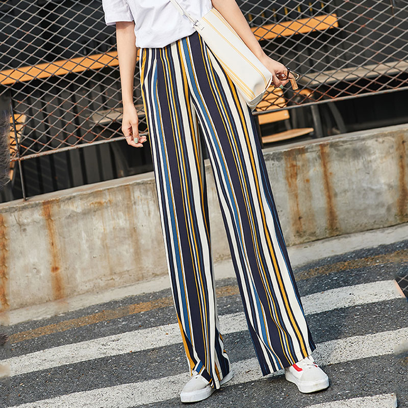 Striped Chiffon   Wide     Leg     Pants   Women Summer Thin High Waist   Pants   with Stripes Streetwear Loose Trousers Women Palazzo   Pants