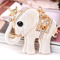 Novelty Items Fashion Rhinestone Crown White Elephant Keychain Cute Animal Key Chains Ring Holder Trinket Gift Decoration