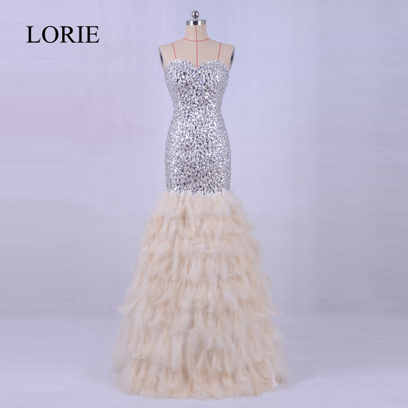 Luxury Feather Mermaid Evening Dress Long 2018 LORIE Crystals Bling Bling Prom Party Formal Long Dresses