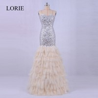 Luxury Feather Mermaid Evening Dress Long 2018 LORIE Crystals Bling Bling Prom Party Formal Long Dresses For Weddings
