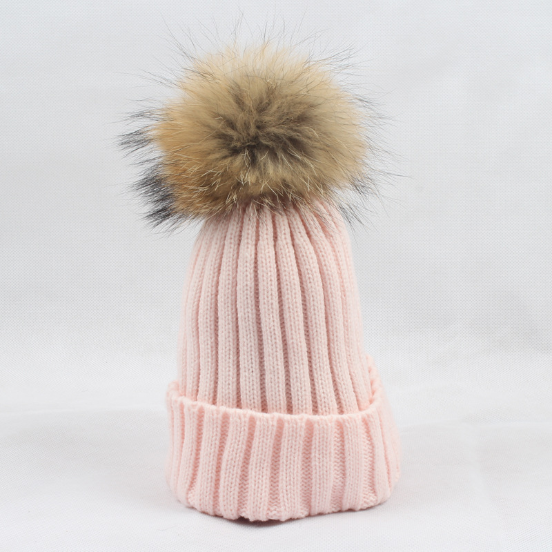 Children Acrylic   Skullies     Beanies   Hat 15cm Raccoon Fur Pom Pom Child Winter Genuine Fur Caps Headgear Ear Protector VF4013