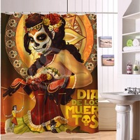 Hot Sale Mexico Day Of The Dead Make Up Waterproof Polyester Bath Shower Curtain 66 X