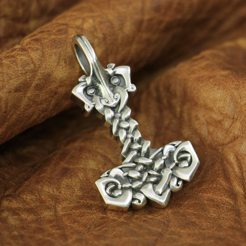 High Details Thor's Hammer Pendant 925 Sterling Silver Mens Biker Pendant TA138 JP-in Pendants from Jewelry & Accessories    1