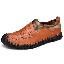 купить Italian Summer Hollow Shoes Men Casual Luxury Brand Genuine Leather Loafers Men Breathable Boat Shoes Slip On Moccasins 15D50 дешево