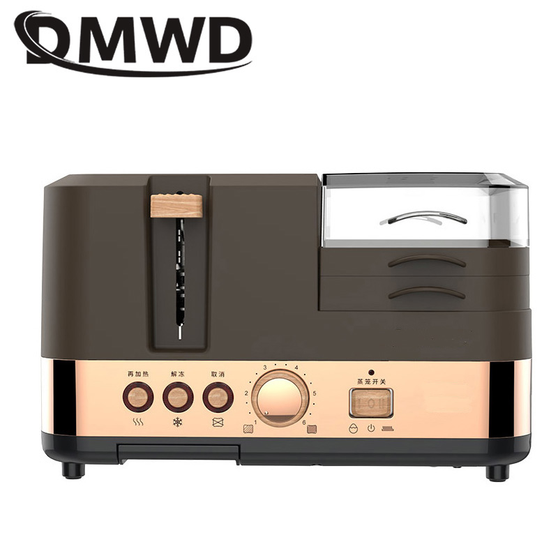 DMWD Multifunctional Electric Toaster Breakfast Machine Bread Baking 2 Slices Oven Egg Steamer sausage Omelette frying pan Grill